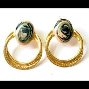Vintage door knocker earrings gold blue Enameled